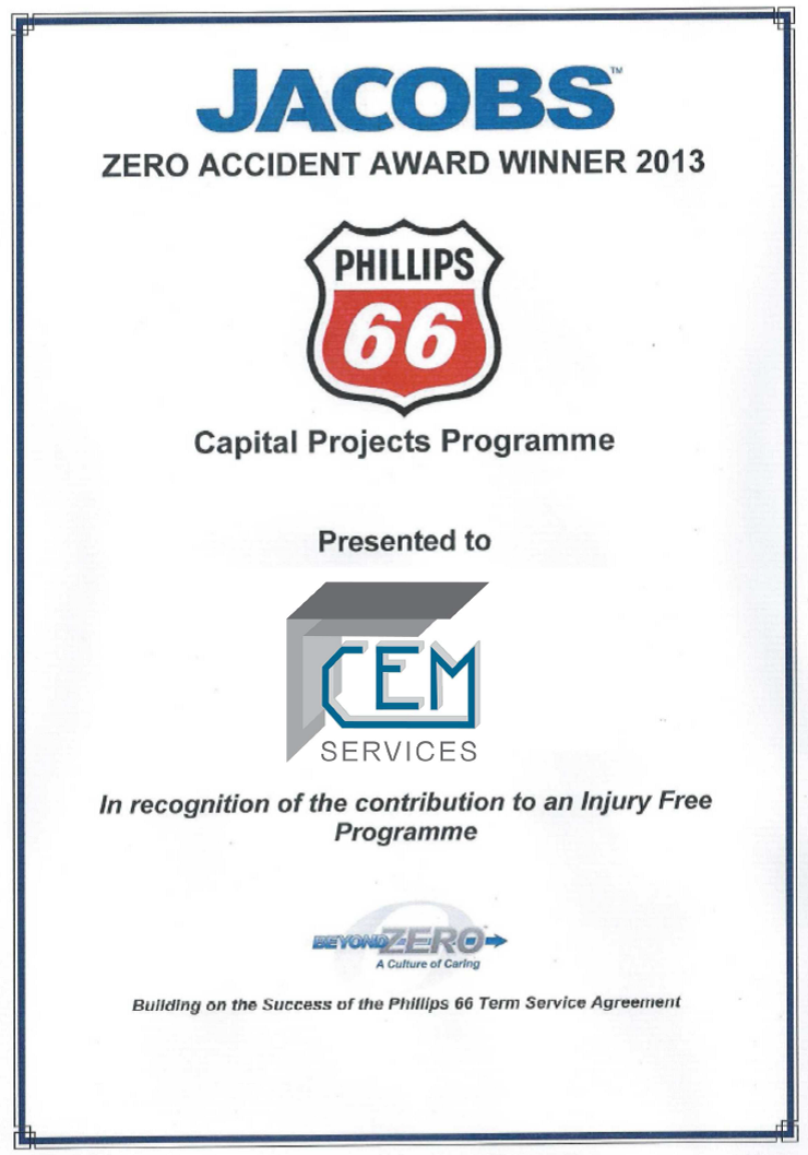 P66 Capital Projects Safety Award 2013